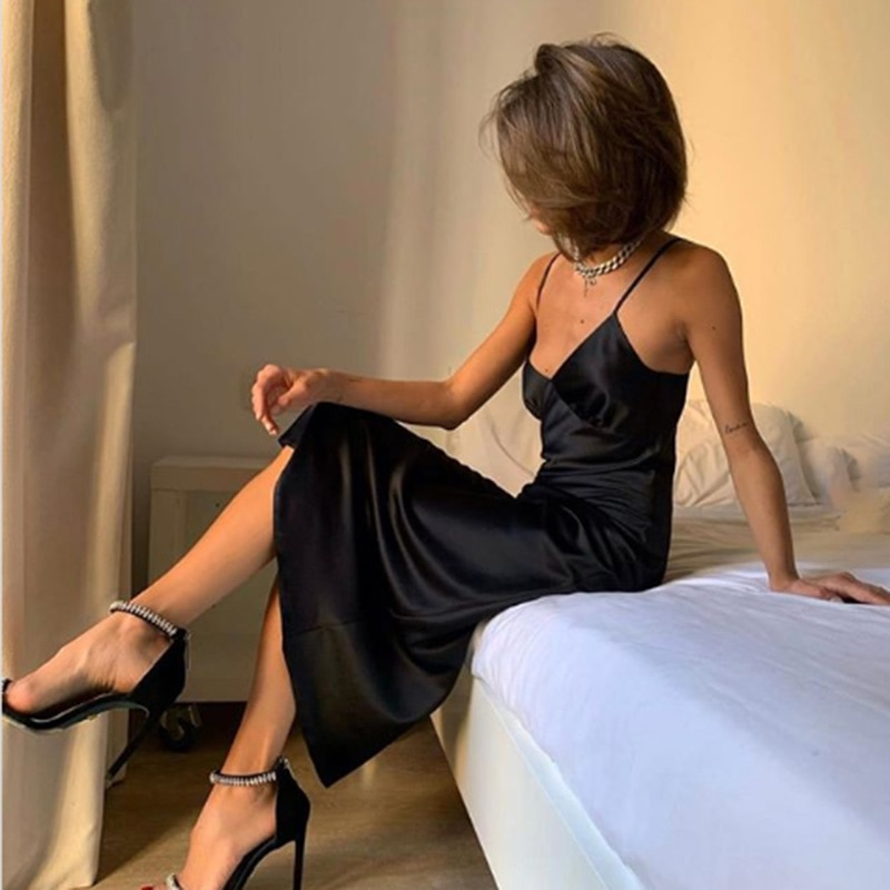 Women's Satin Deep V-Neck Sexy Dress