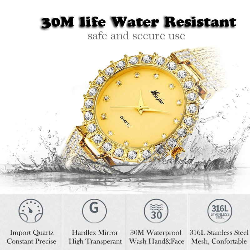 Waterproof Women's Watch with Diamonds